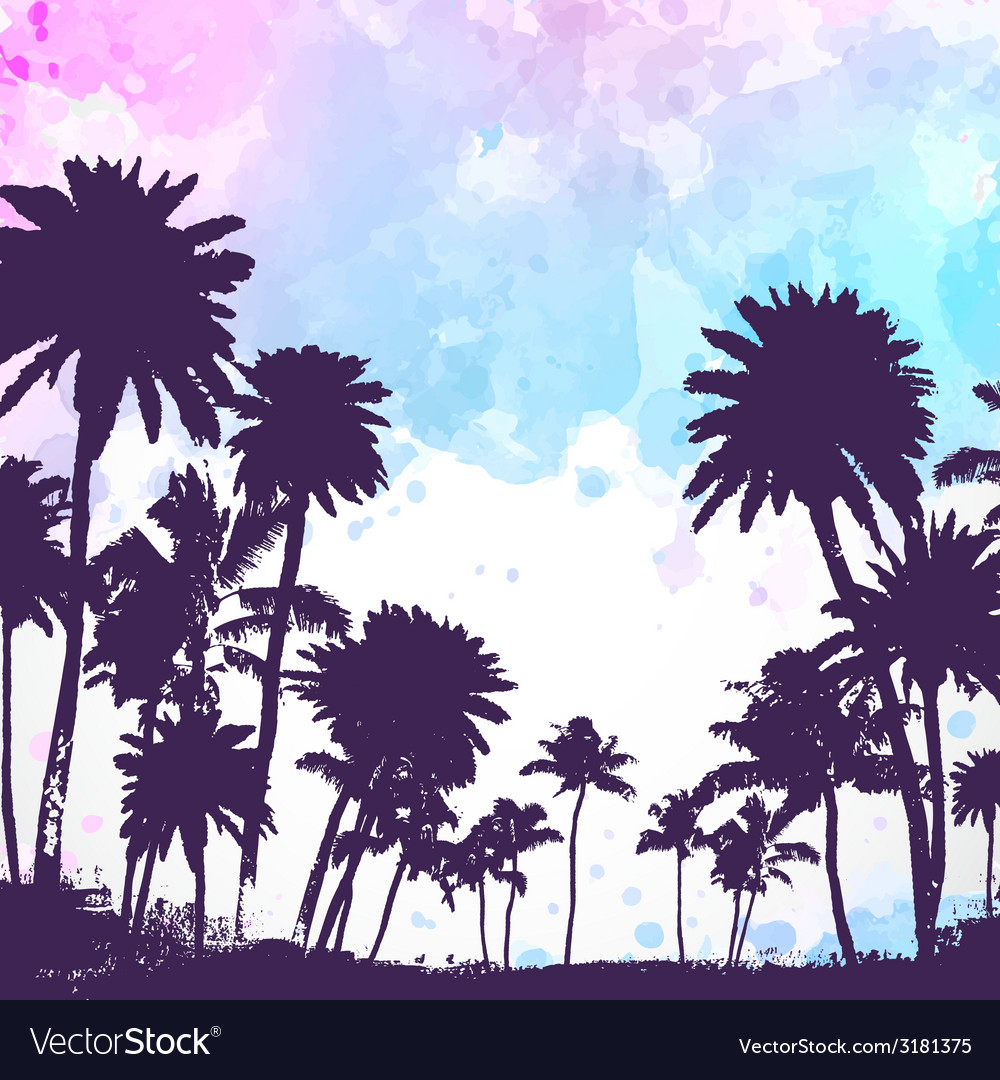 Palm trees on watercolor background