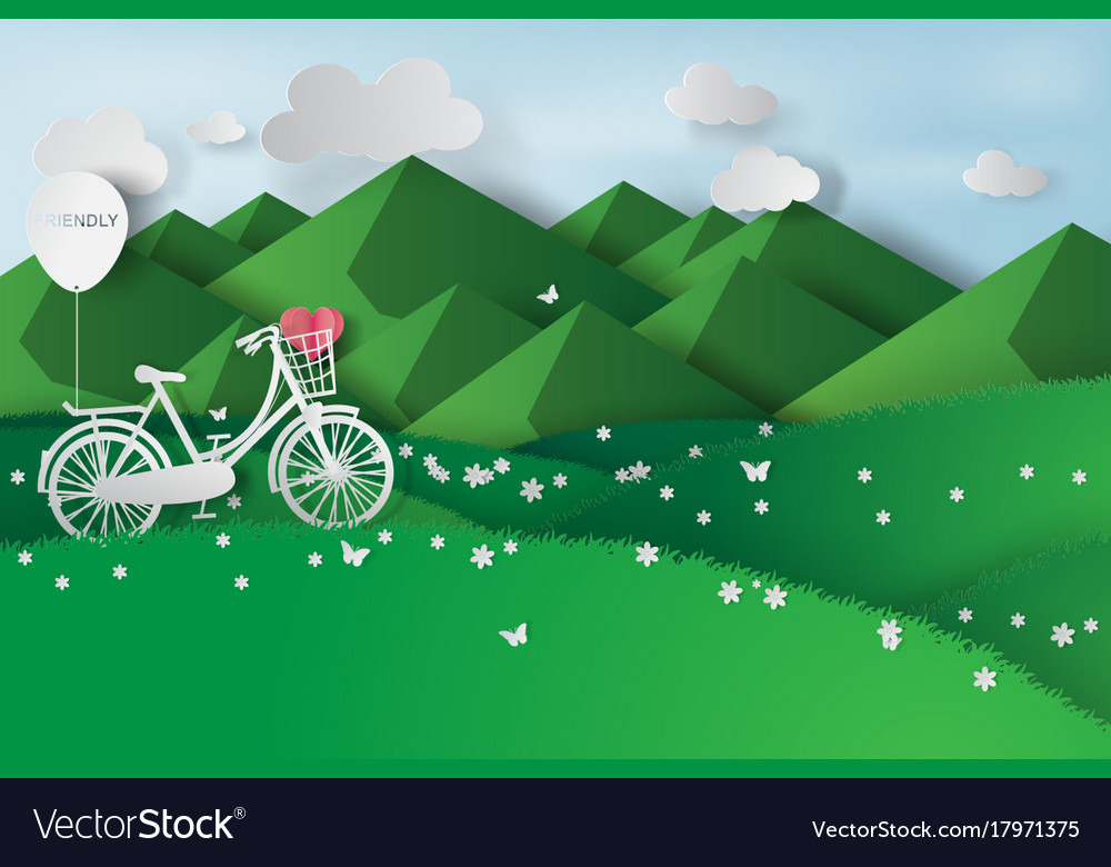 Paper art of green landscape mountain view with