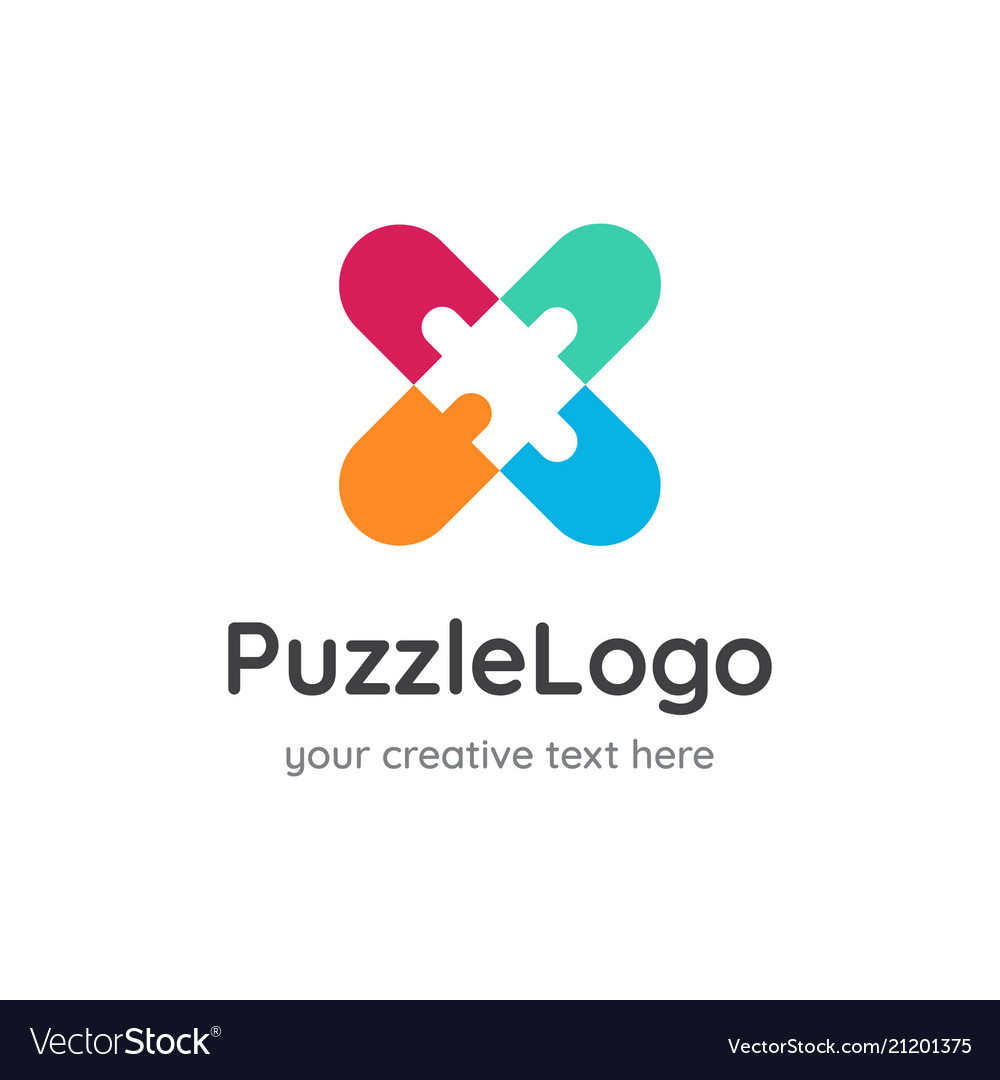 Puzzle logo design negative space