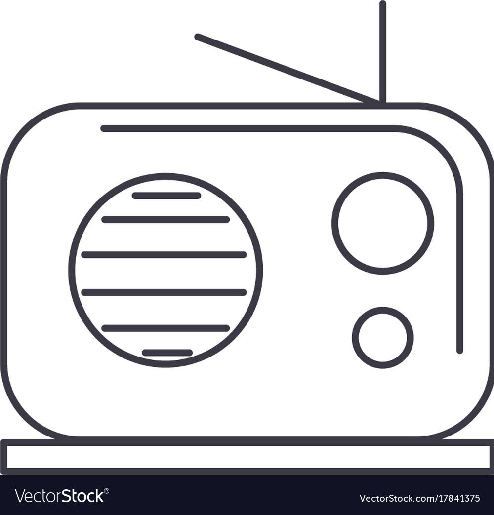 Radio reciever line icon sign