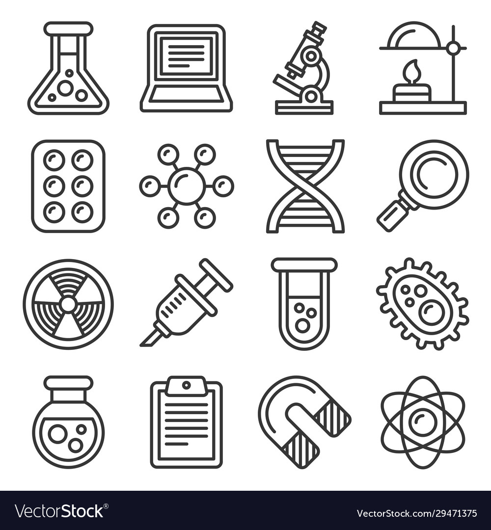 Science icons set on white background line style
