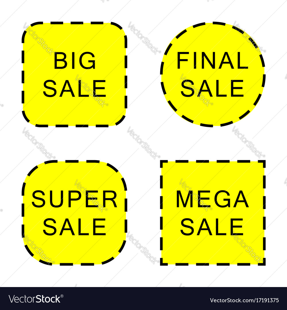 Set of sale stickers and labels isolated on white