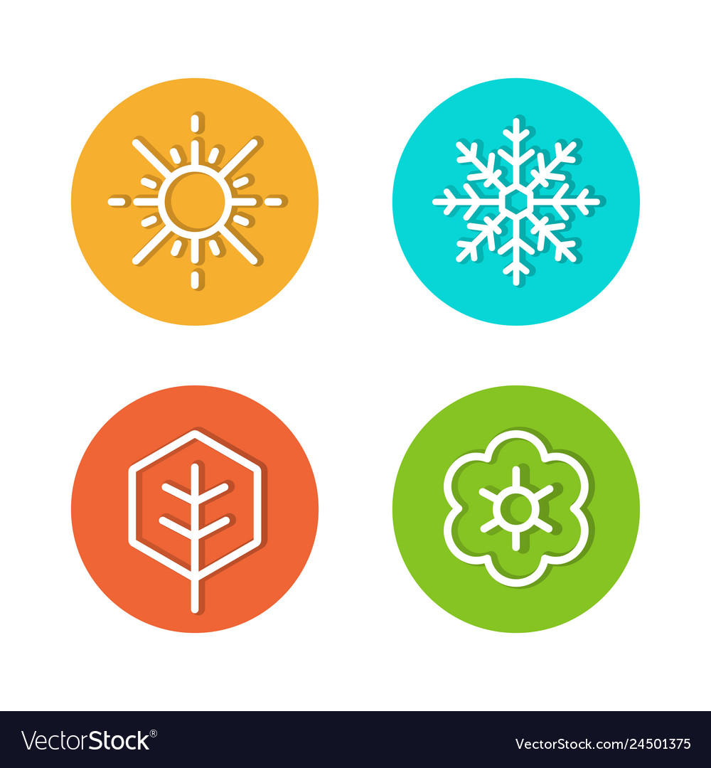Set seasons flat icons rounded style vector
