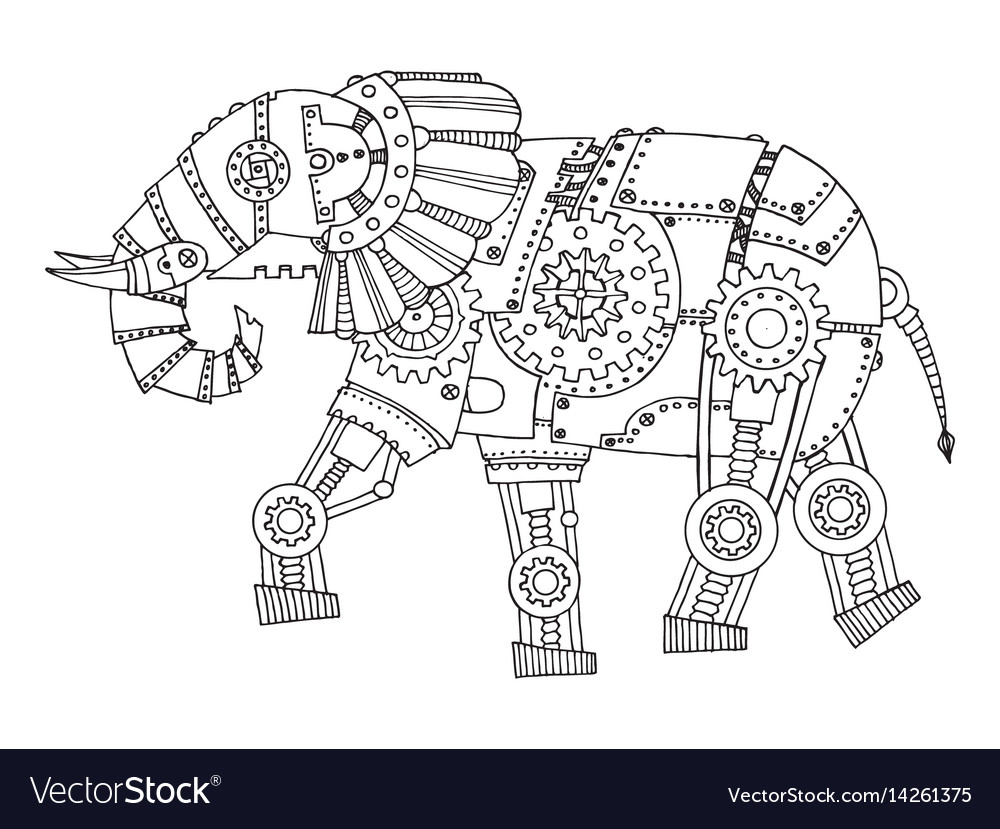 Steam punk style elephant coloring book Royalty Free Vector