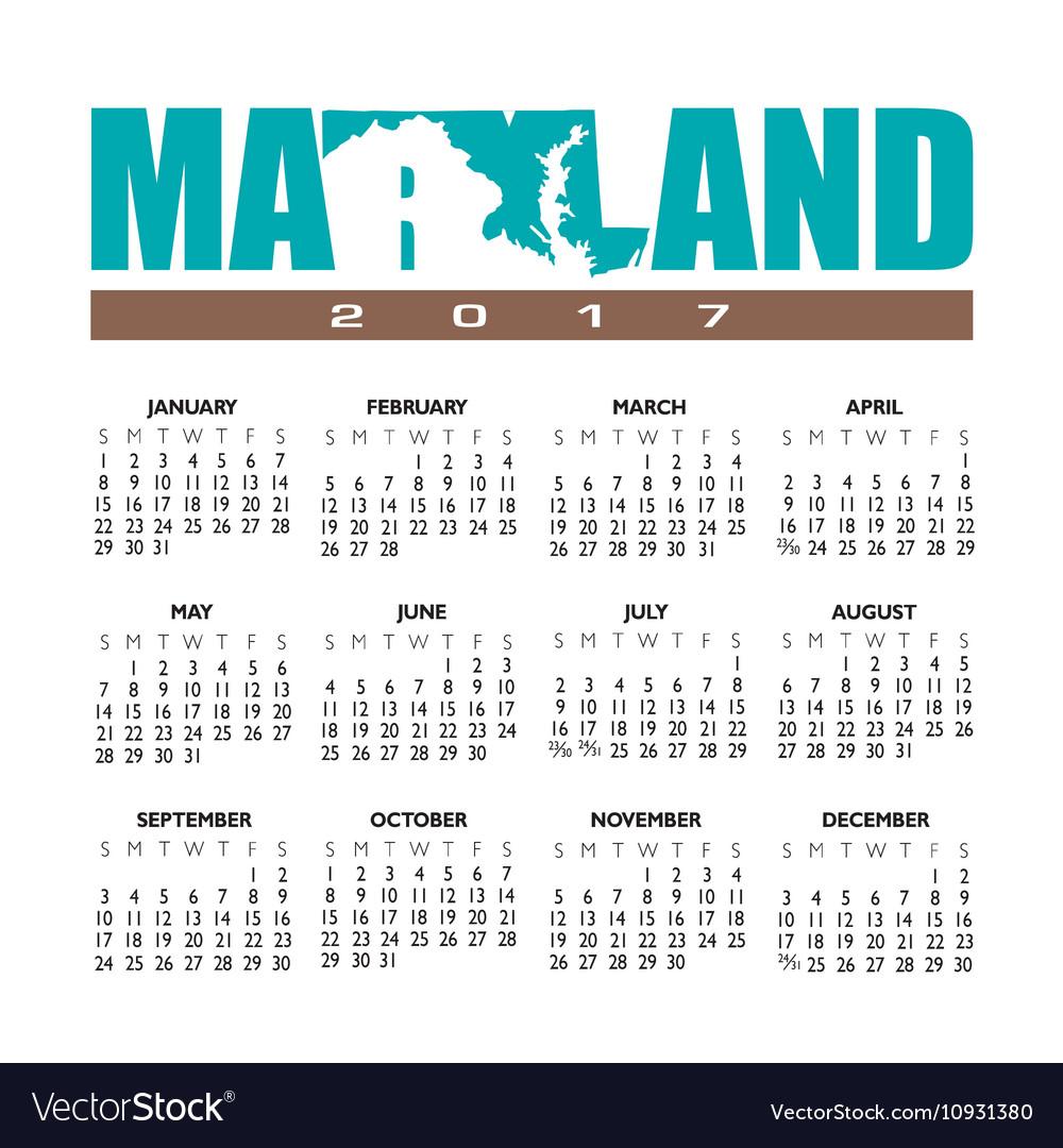 2017 Maryland calendar