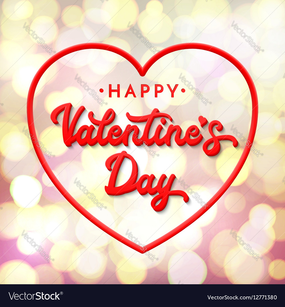 3d Lettering Happy Valentines Day Royalty Free Vector Image