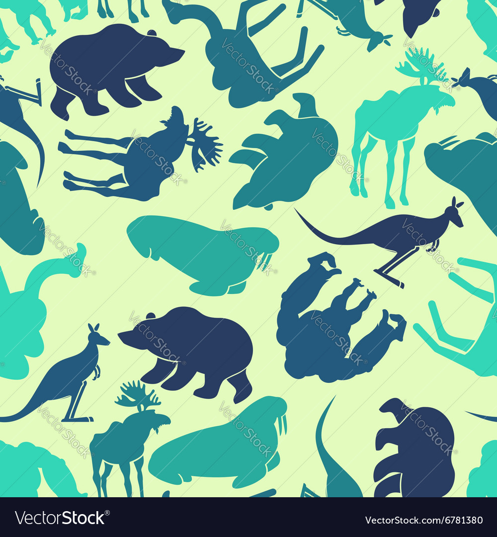 Animals seamless pattern Zoo background Wild