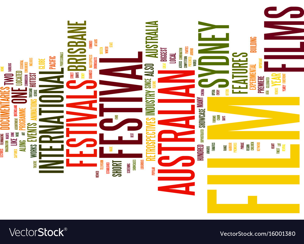 Australian film festivals text background word vector image
