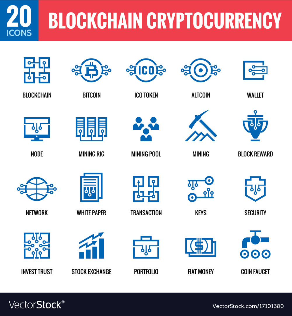 Blockchain cryptocurrency icons
