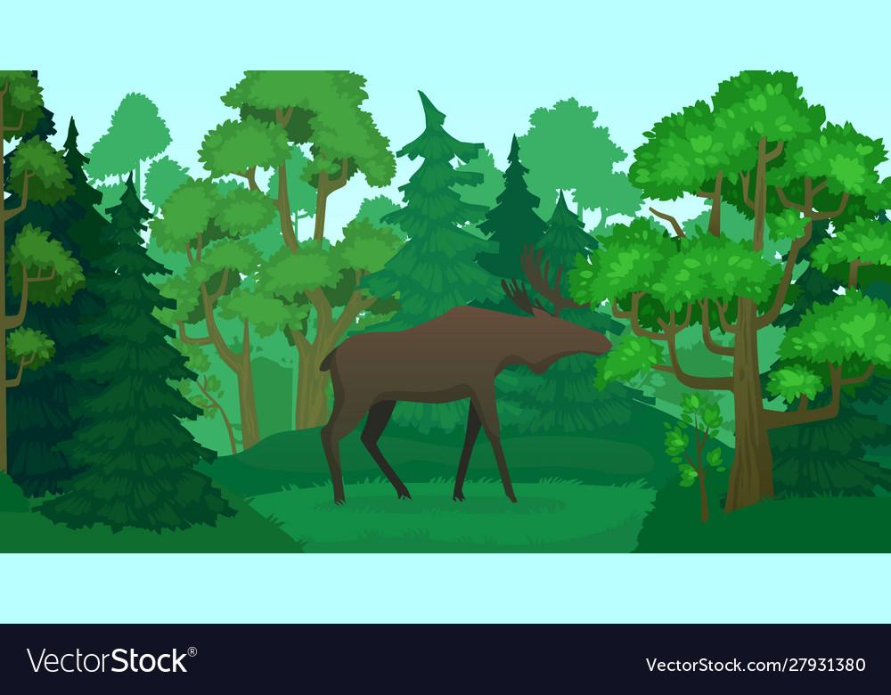 Cartoon moose in forest landscape deer silhouette