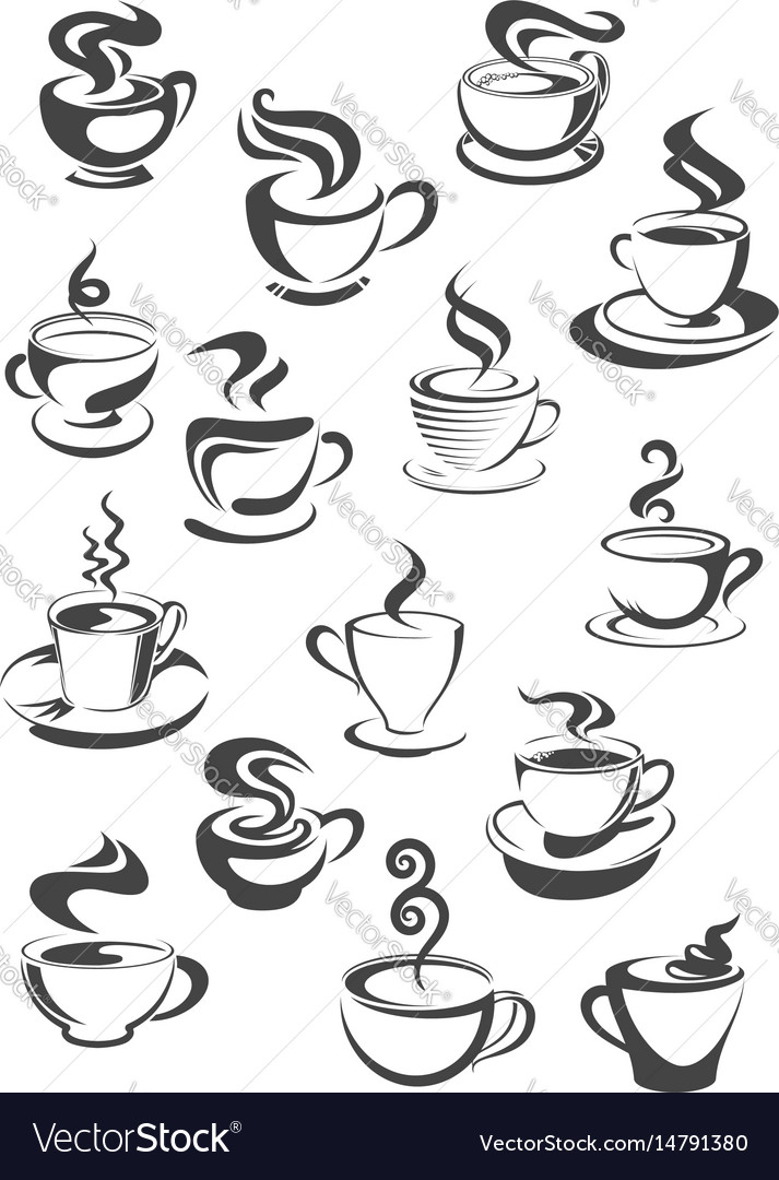 Coffee cup and mug isolated icon set vector image
