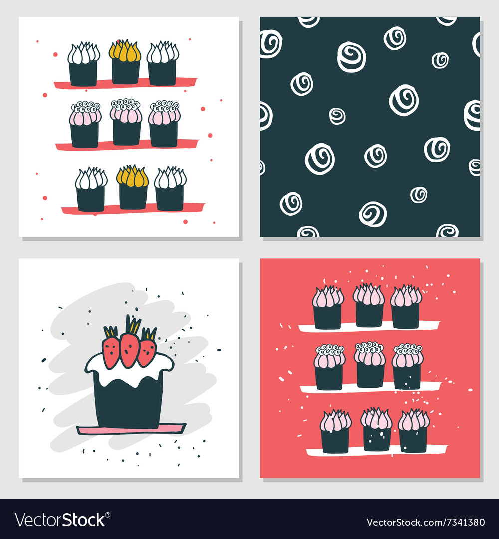 Cute cards Delicious food dessert Cupcake Birthday