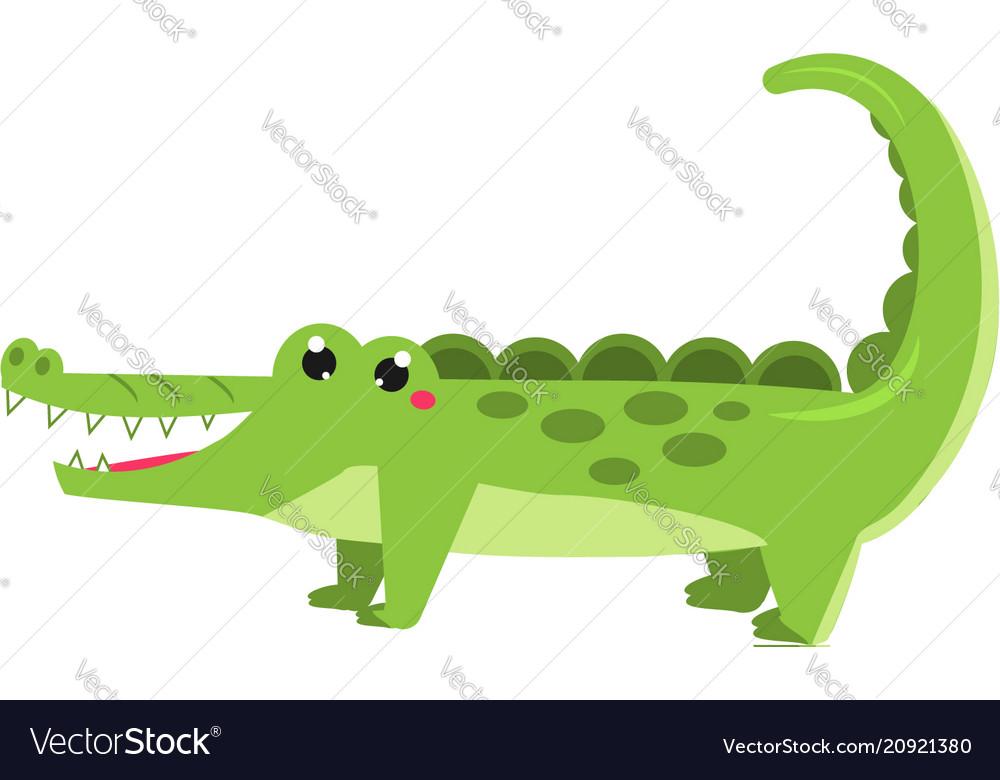 Cute crocodile cartoon african animal kawaii vector image