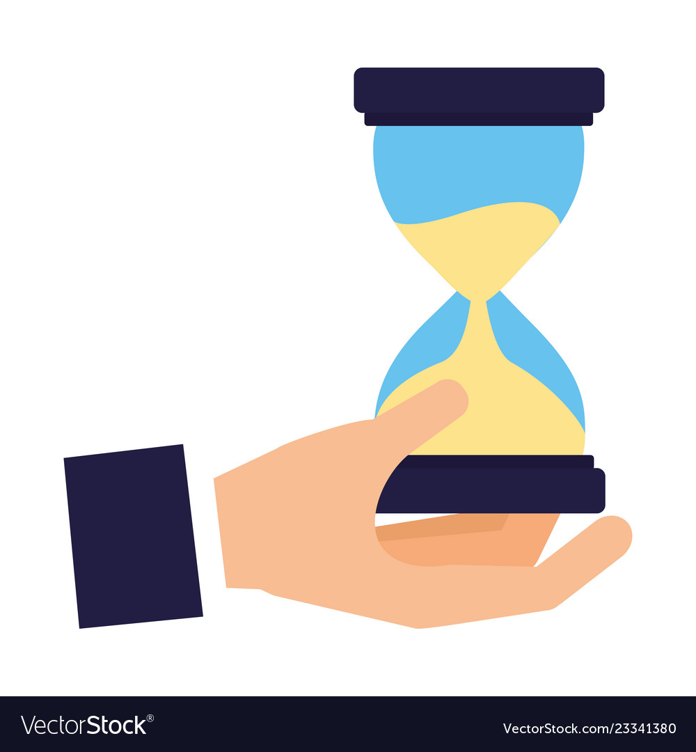 Hand holding hourglass time business