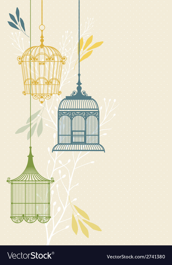 Invitation card with birdcage