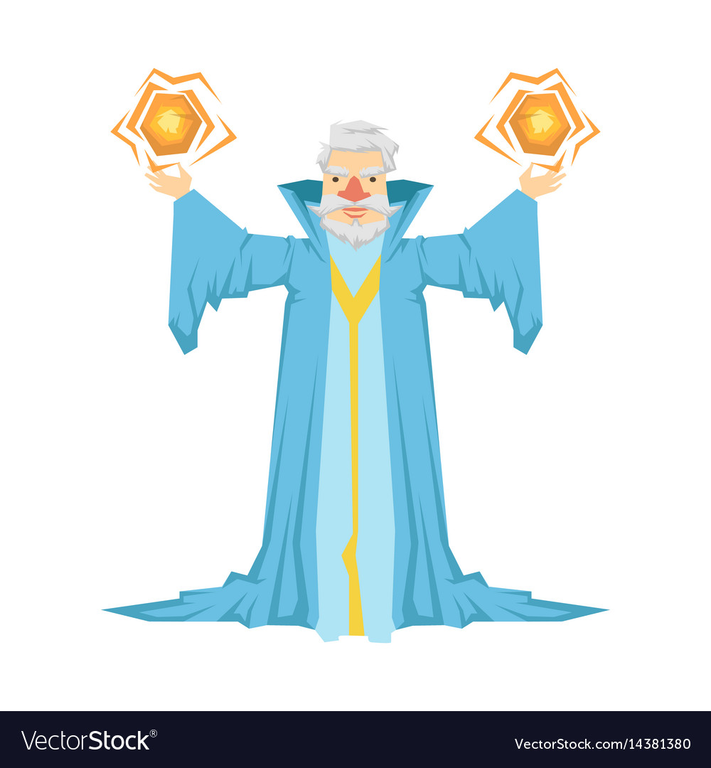 Old bearded wizard in a blue robe holding two