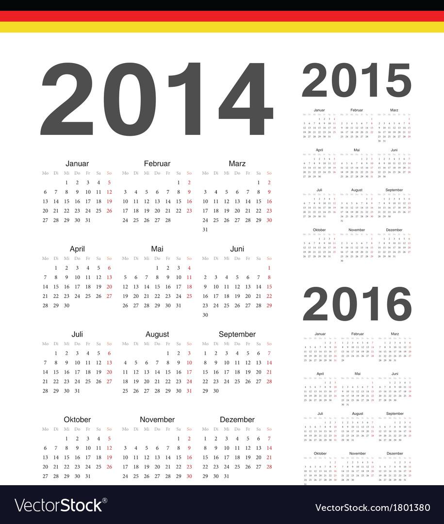 Set of german 2014 2015 2016 year calendars
