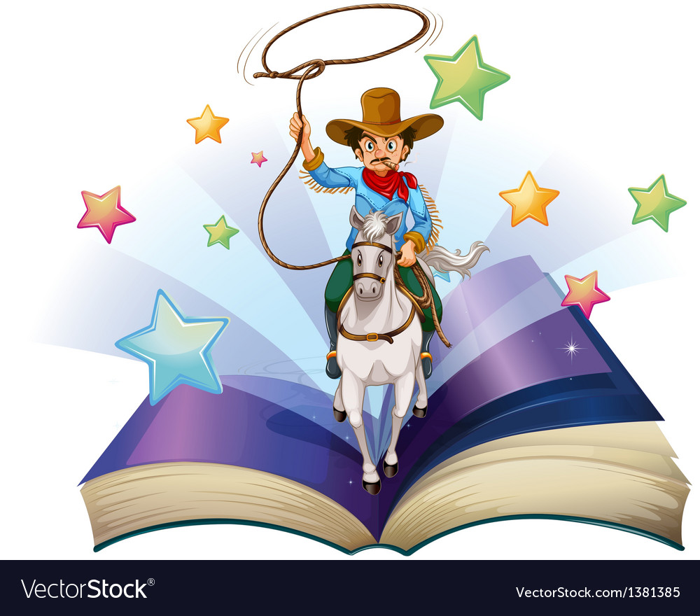 An open book with an image of a cowboy riding on a