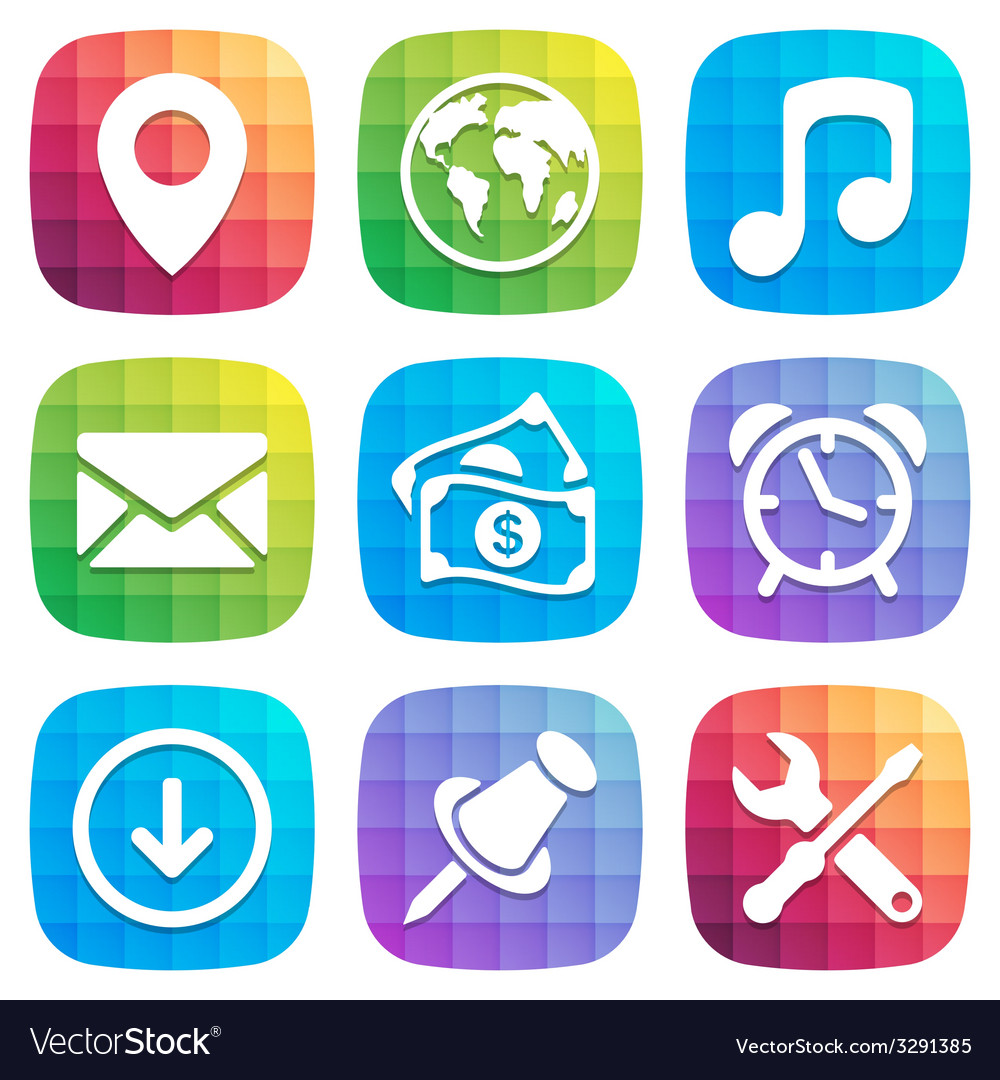 Application Icons in trendy Design element