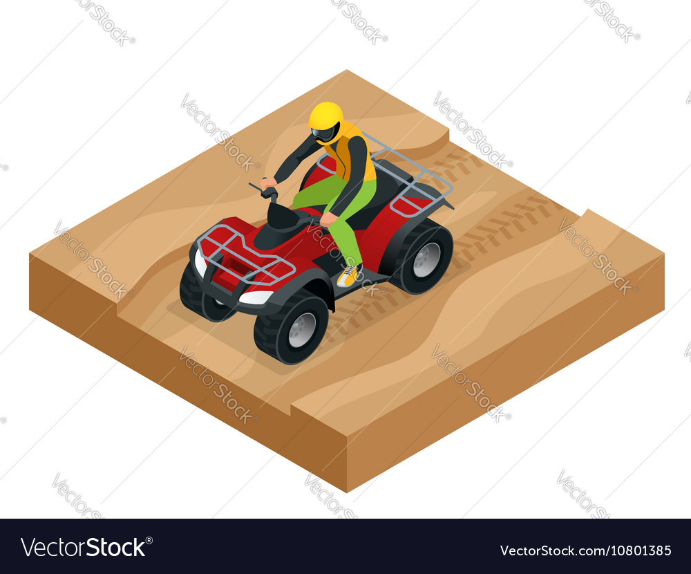 ATV rider in the action Quad bike ATV isometric