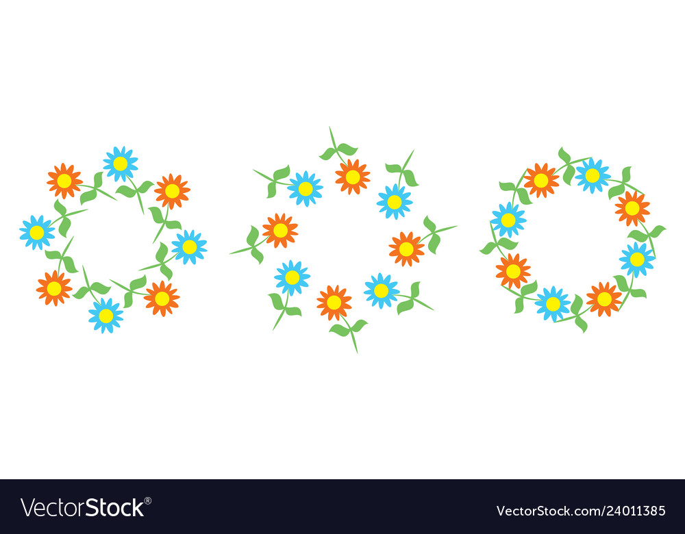 Beautiful floral patterns in the shape of wreaths