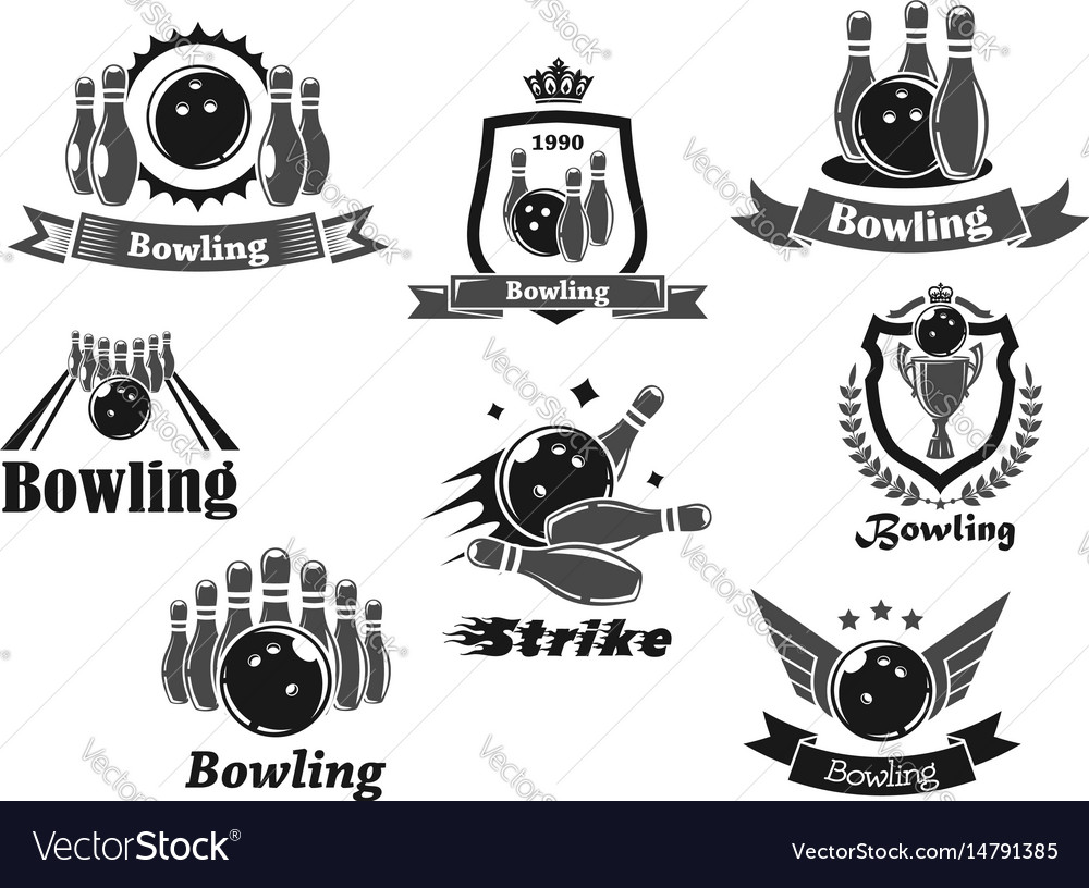 Bowling game sport club icon with ball ninepins vector image
