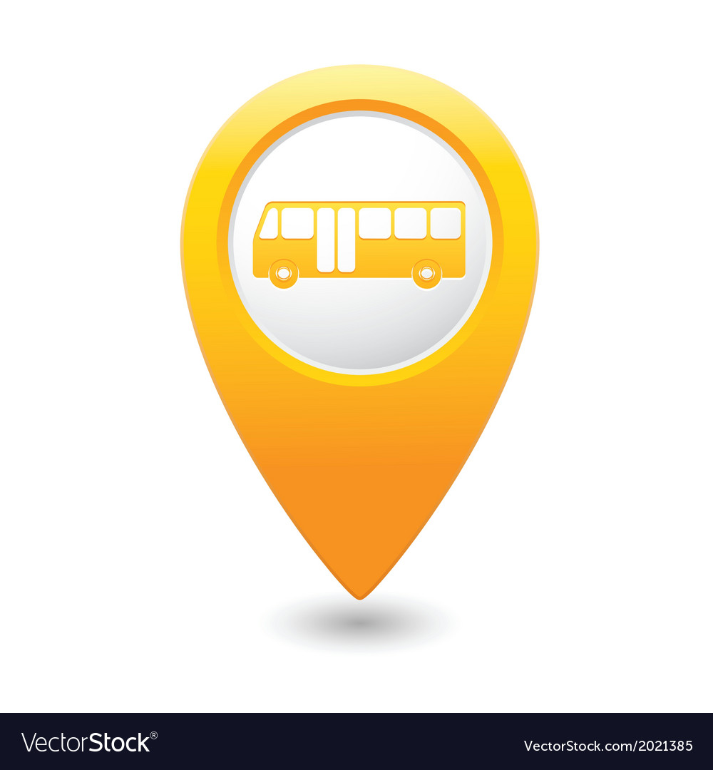 bus icon yellow map pointer royalty free vector image