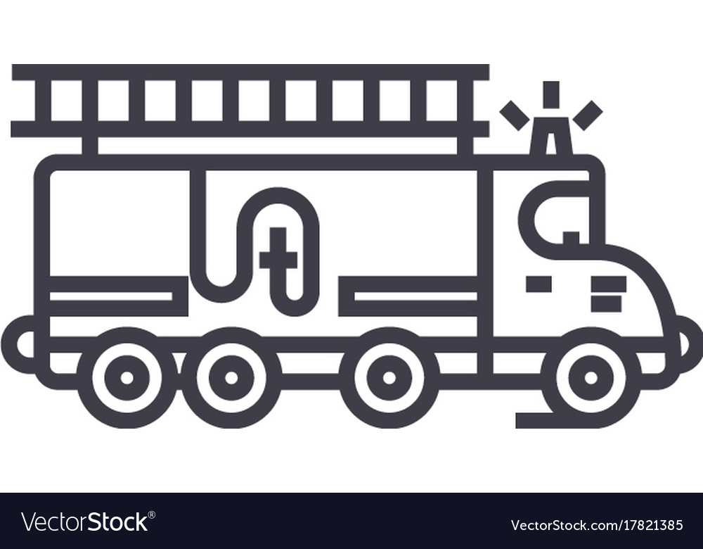 Car fire engine line icon sign vector image