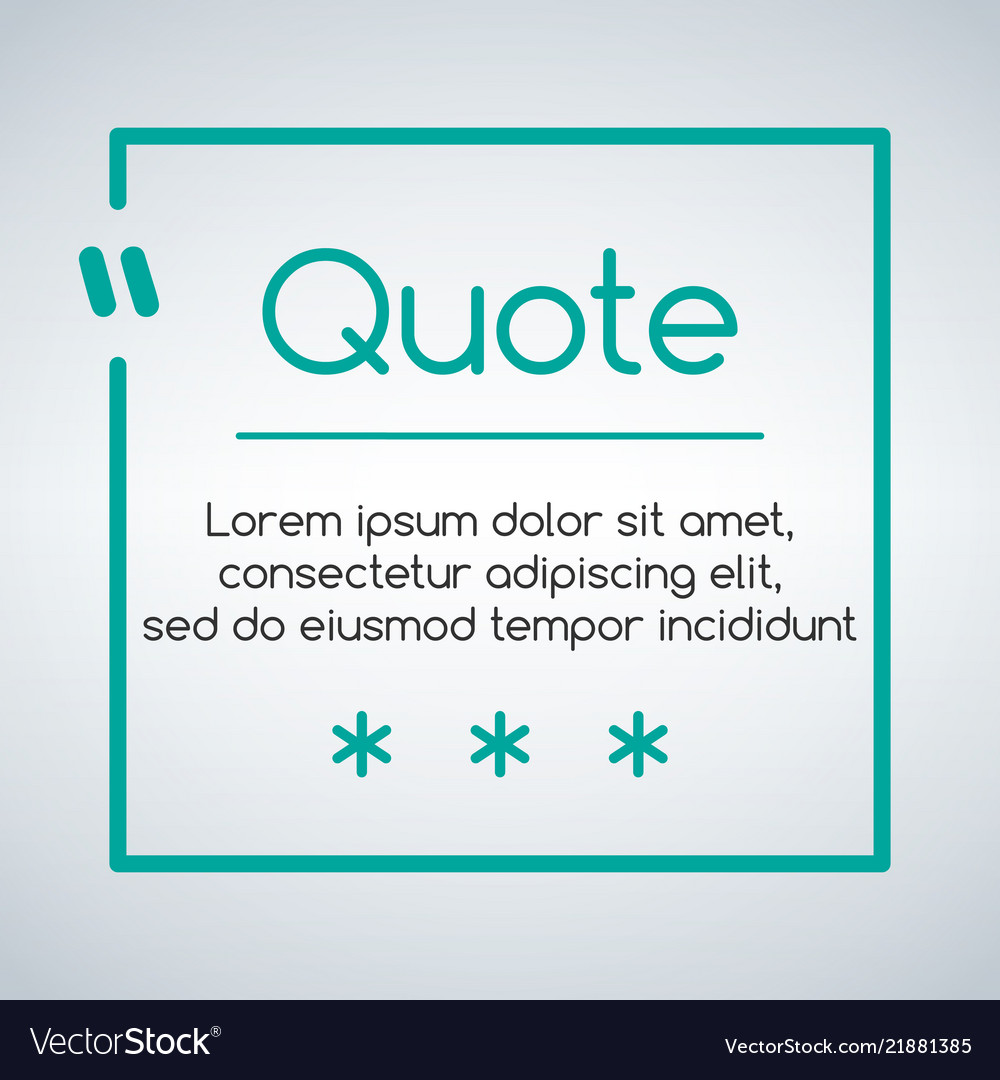 chat or quote square template quotes form and vector image