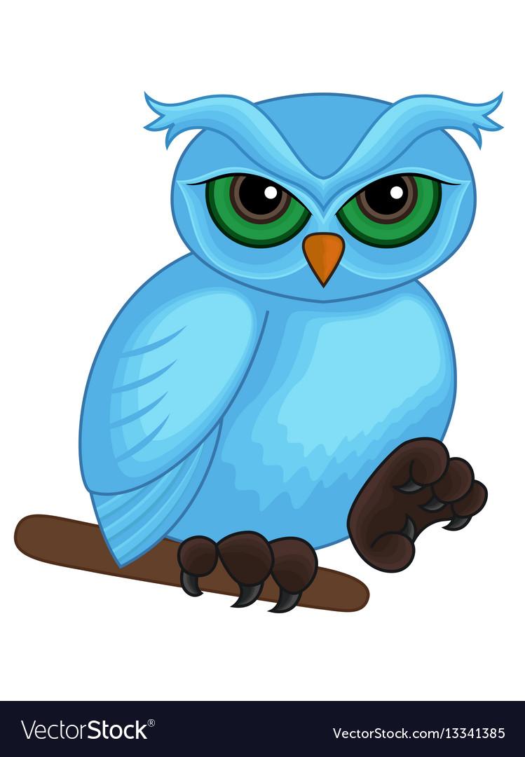 Cute cartoon blue owl on a branch