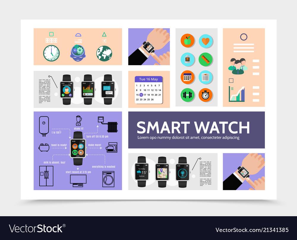 Flat smart watch modern infographic template