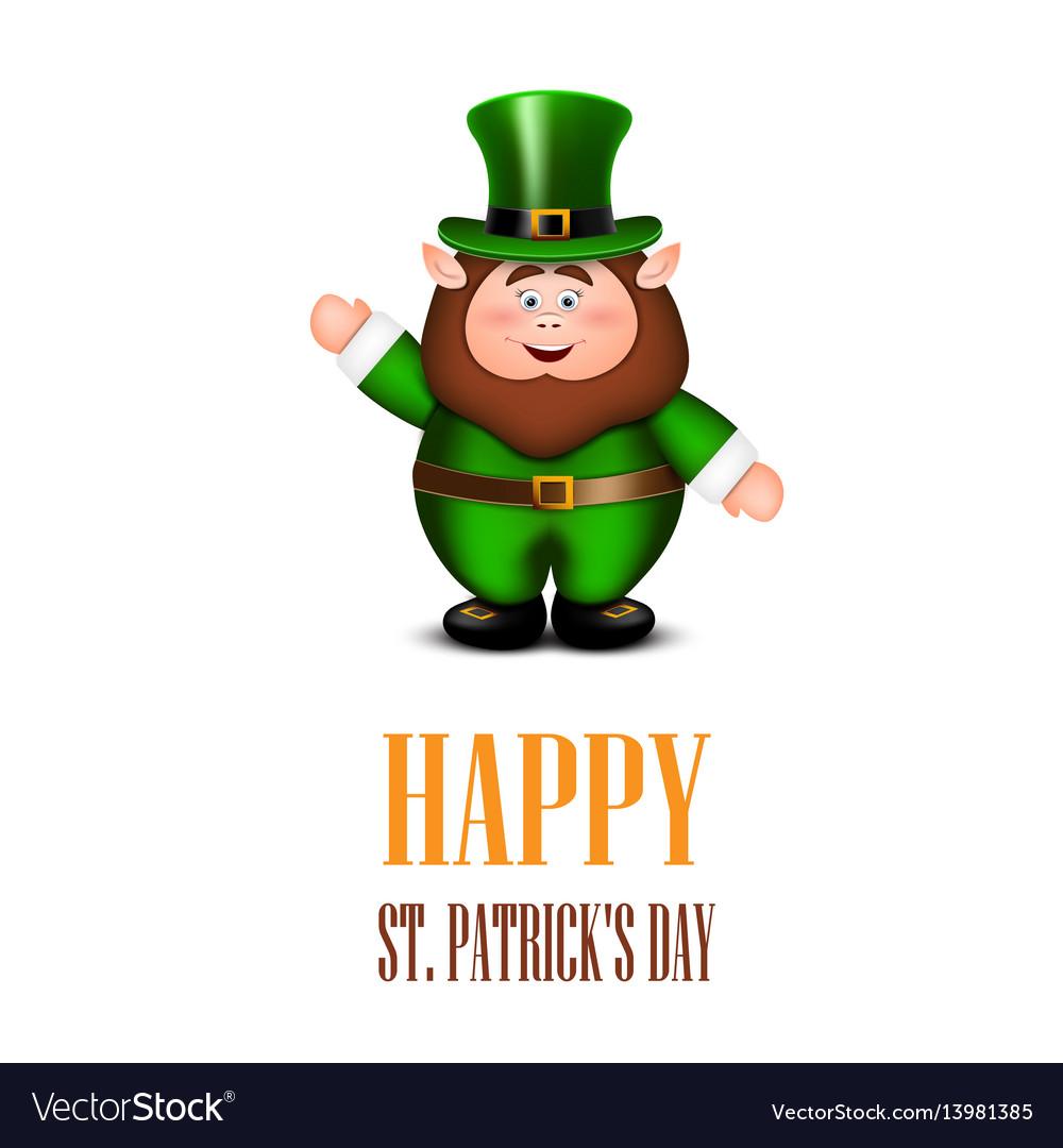 Happy leprechaun waving hand saint patricks day