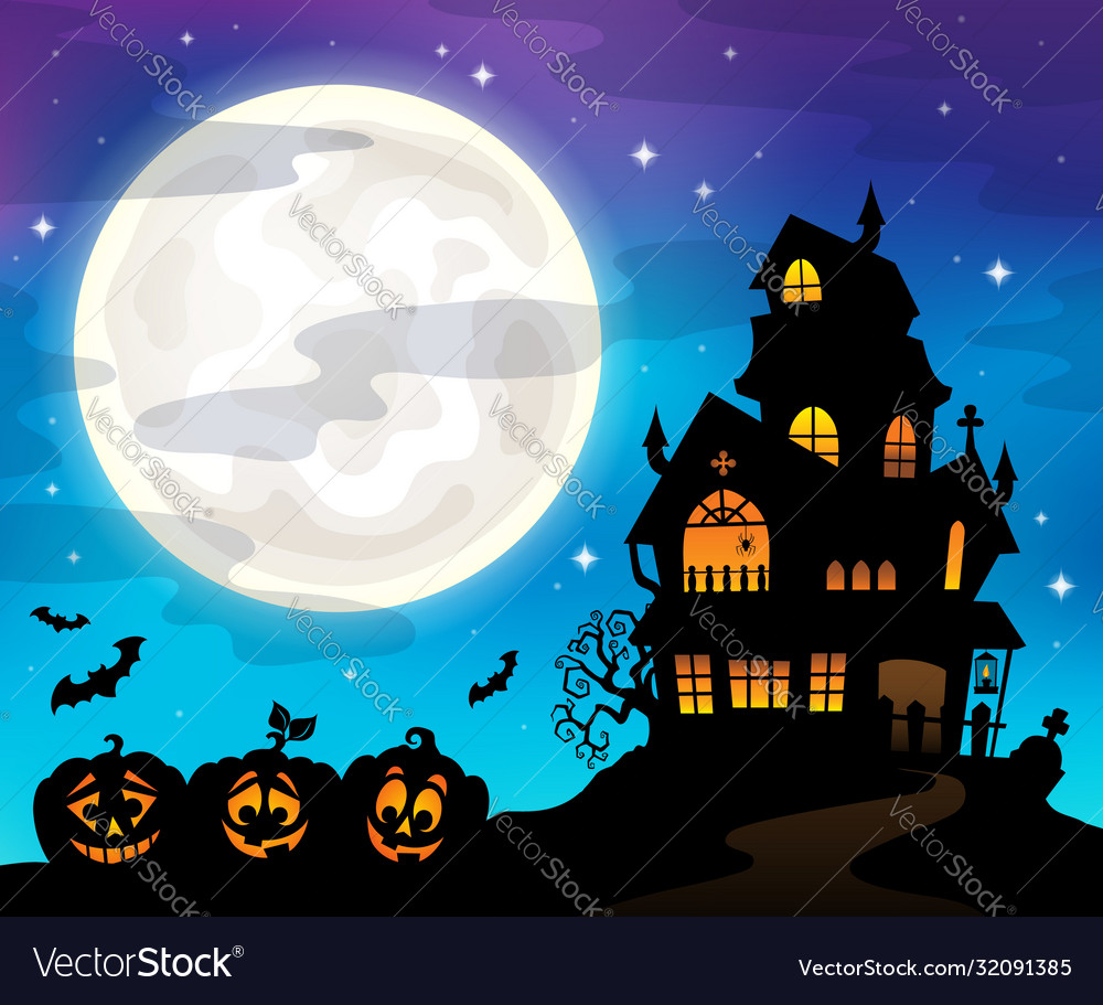 Haunted house silhouette theme image 6