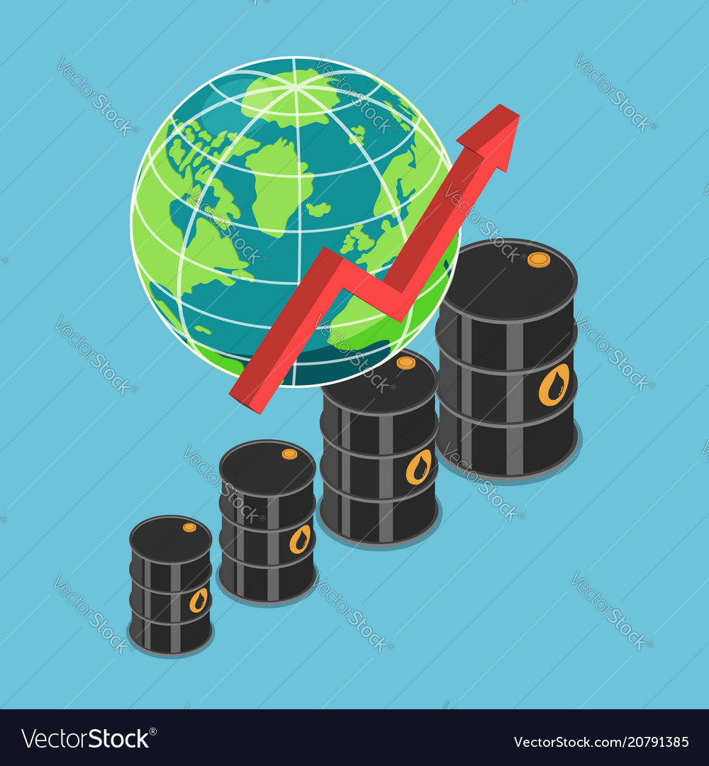 Isometric oil barrel and rising graph with world