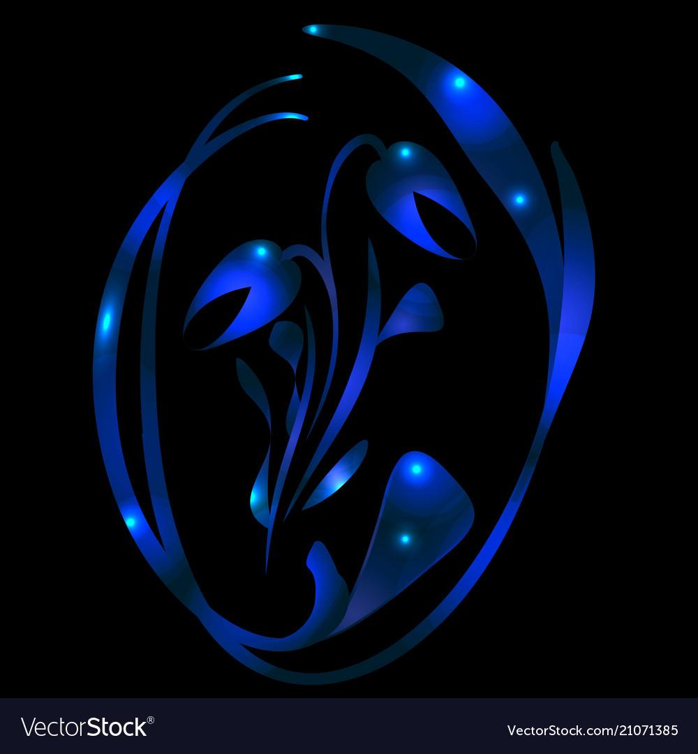 Metallic tulip in blue glare for a postcard