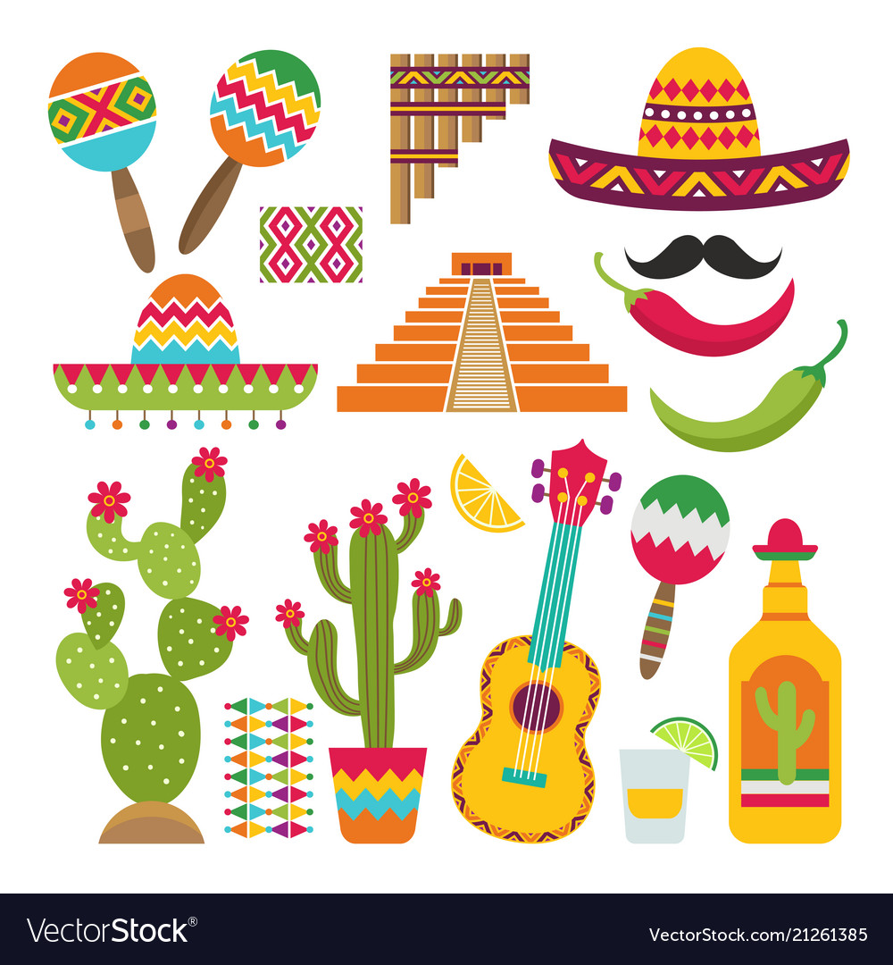 Mexican elements set of traditional mexican