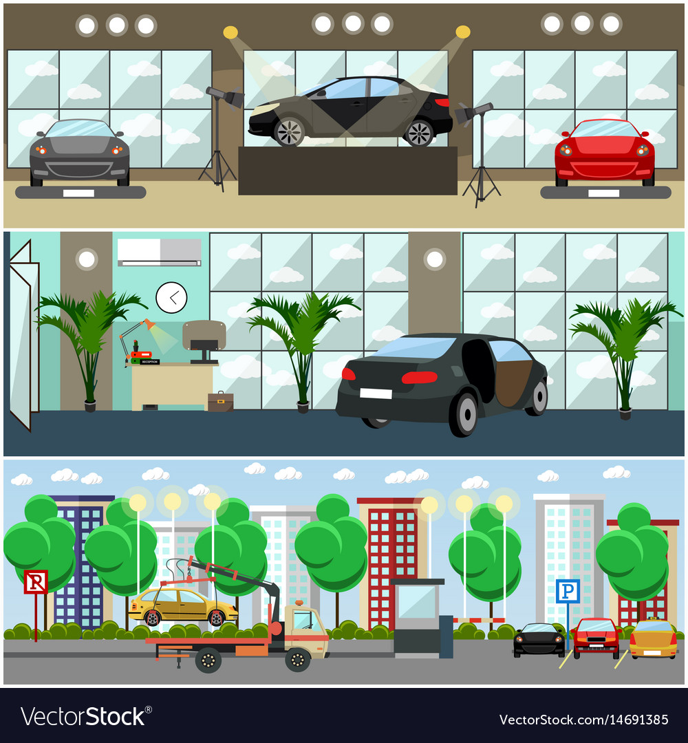 Set of cars concept posters banners in