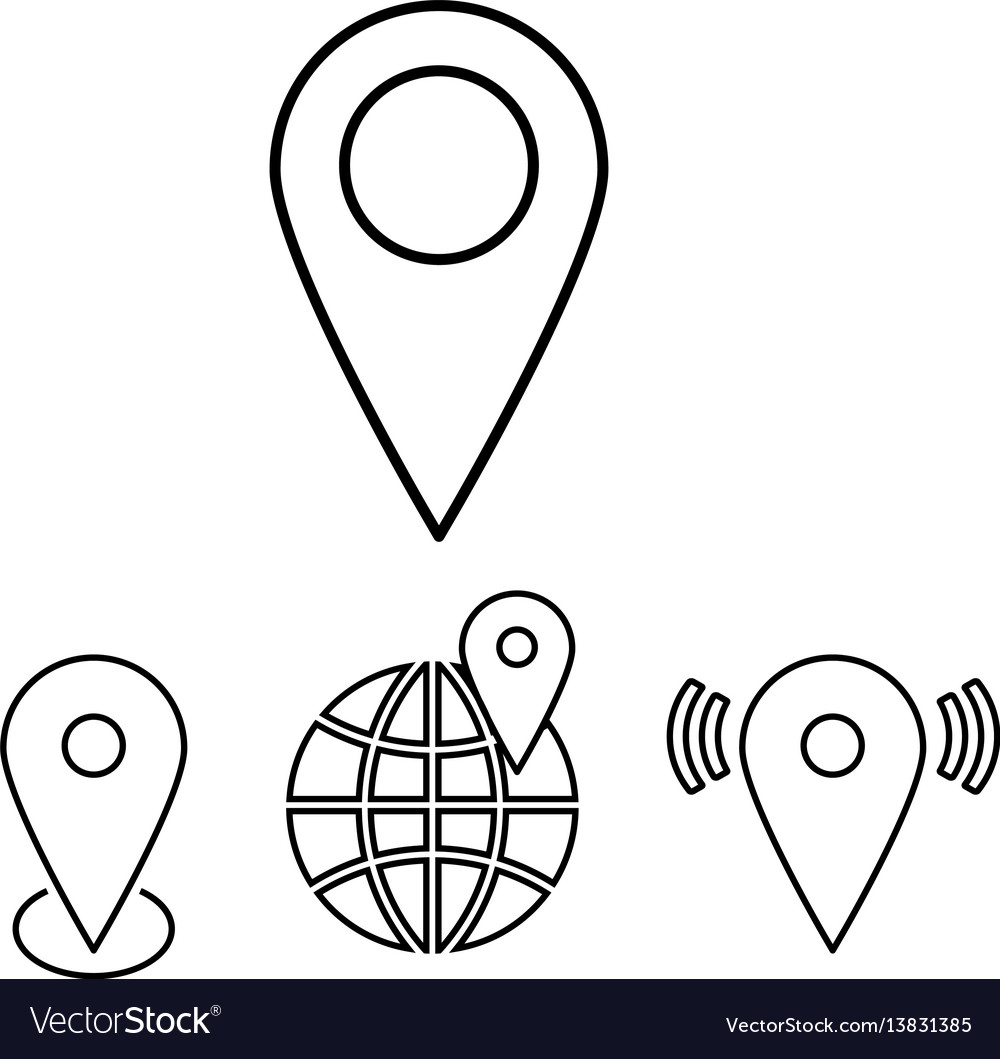 Set of outline map pointers linear
