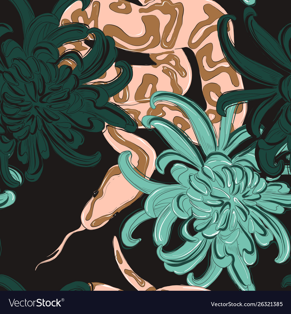 Snake and flowers coral green pattern contrast