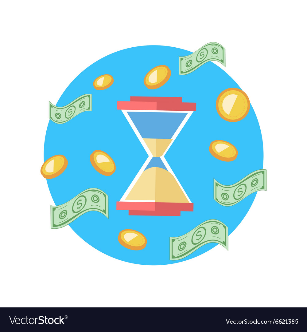 Time is Money Concept Hourglass Coins