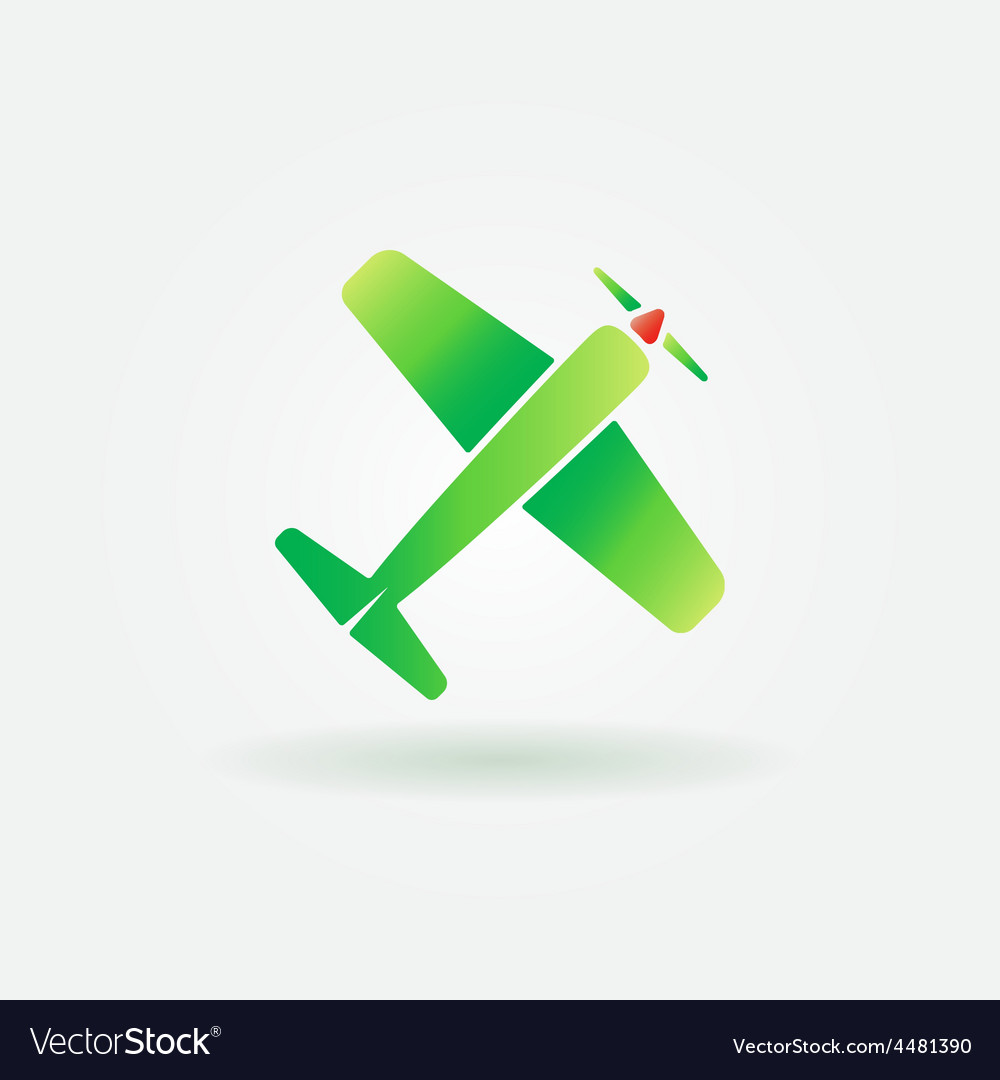 Airplane green sign or icon