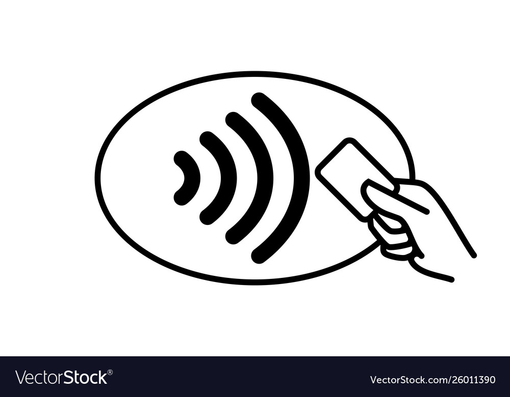 Contactless payment icon credit card and hand