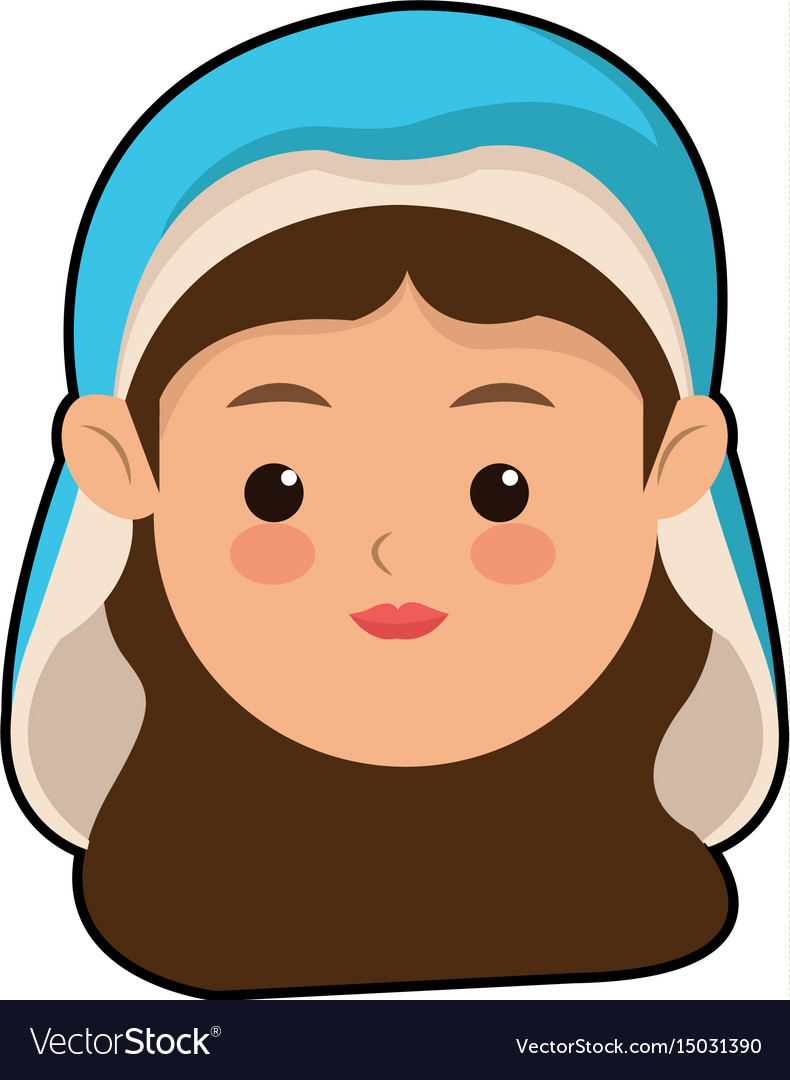 Cute virgin mary character manger christmas vector image