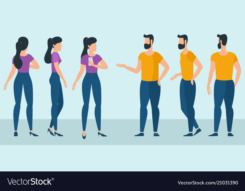 Flat design ready to animation characters