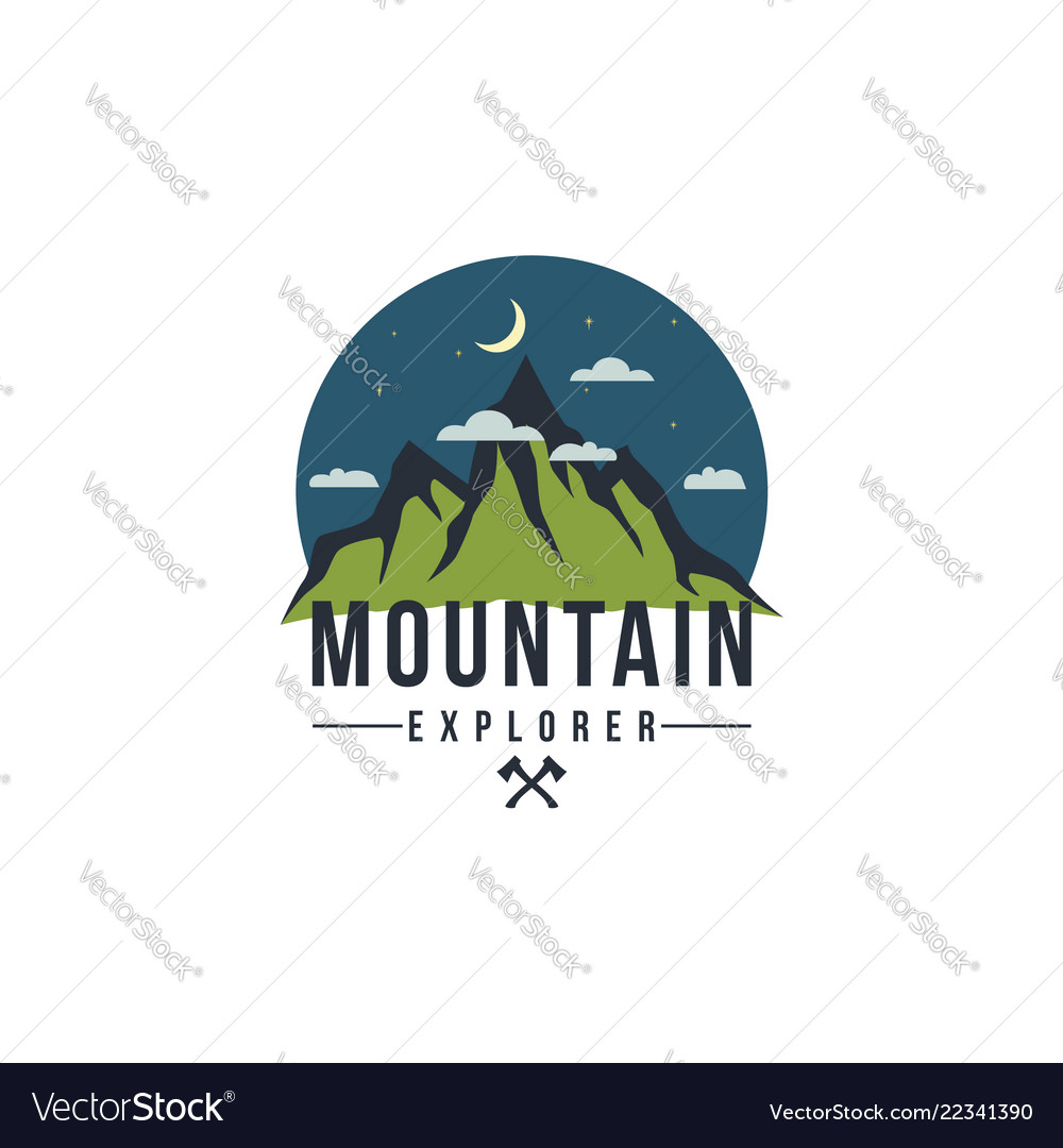 Forest mountain at night adventure badge logo