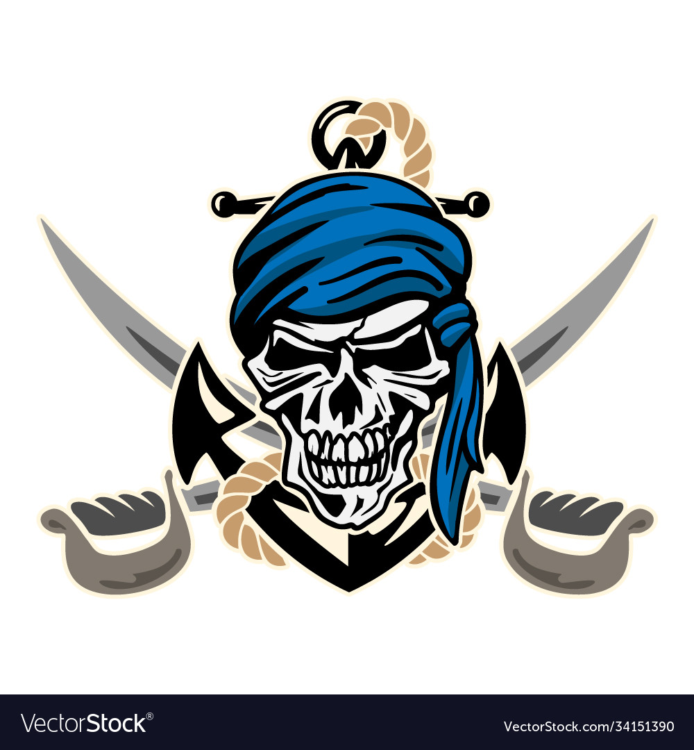 Pirate skull with anchor rope and crossed swords