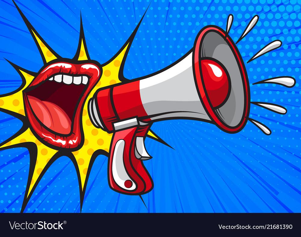red lips screaming in loudspeaker royalty free vector image vectorstock