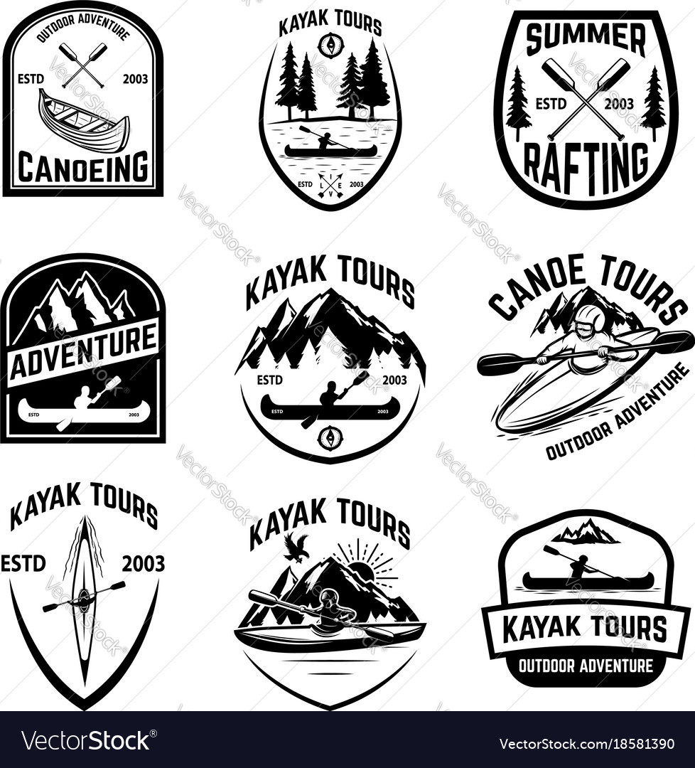 Set of canoeing badges isolated on white