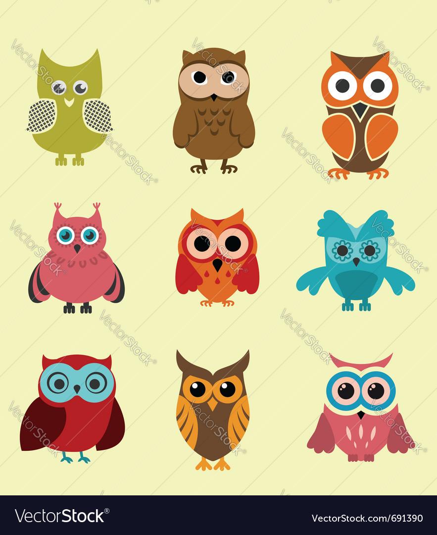 Set of doodle owls vector image