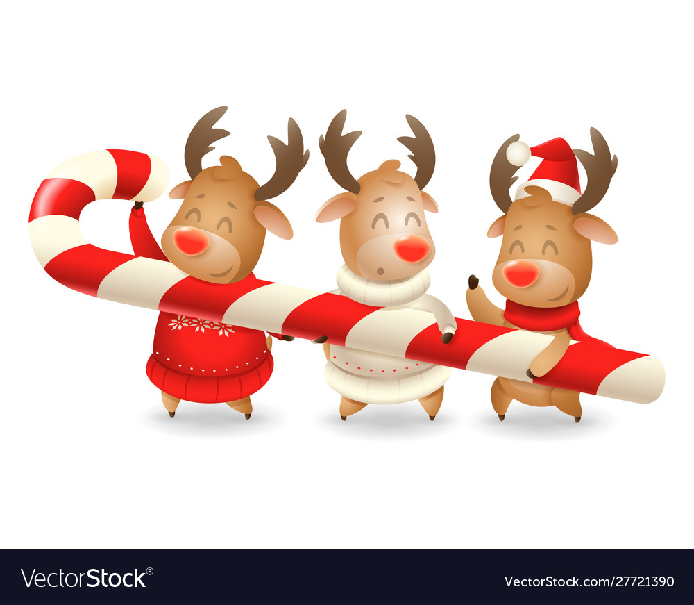 Three reindeer friends are holding large candy can